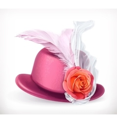 Hat with rose and feathers vector image