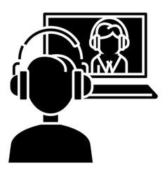 interview online - online study - school icon vector image