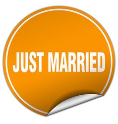 Just married round orange sticker isolated on vector