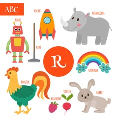 Letter R Cartoon alphabet for children Radish vector image vector image