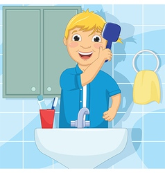Little Boy Brushing Hair vector image vector image