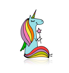 magic unicorn sketch for your design vector image vector image