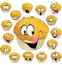 muffin cartoon with many expression isolated on vector image vector image