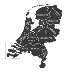 netherlands map labelled black vector image vector image