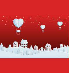 paper art concept of christmas with balloon vector image