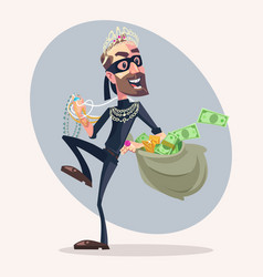 Robber man character stole money and jewelry vector