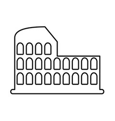 Roman coliseum ruins isolated icon vector