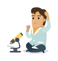 Scientist with microscope vector