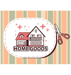 Scissors cutting sticker with icon of hom vector