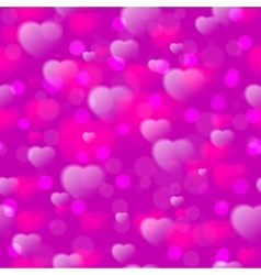 Seamless pattern with fuzzy hearts on purple vector image