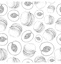 Seamless peach pattern fresh fruit sketch vector