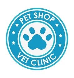 Stamp pet shop vet clinic with blue paw vector