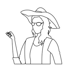 Woman clothing fashionable with hat and glasses vector