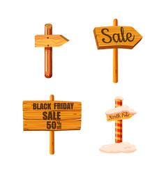 wood sign icon set cartoon style vector image