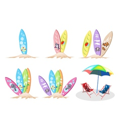 Set of surfboards with beach chair vector