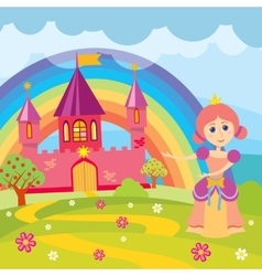 Cartoon princess and fairytale castle with vector