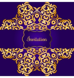 Rich gold invitation card in the indian style vector