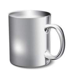 Chromium-plated mug realistic 3d mockup on a vector