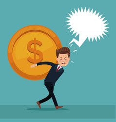 Color background of executive man carrying coin vector