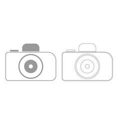 camera grey set icon vector image