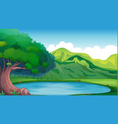Background scene with pond in the mountain vector