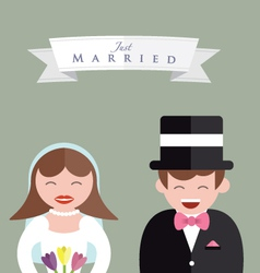 Bride and groom close up vector
