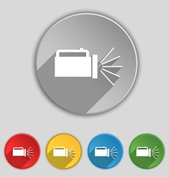 Flashlight icon sign symbol on five flat buttons vector