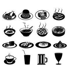 Restaurant foods icons set vector