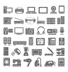Black icons electronic devices vector