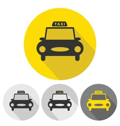 Taxi car flat icons set vector