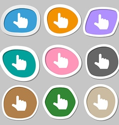 Pointing hand icon symbols multicolored paper vector