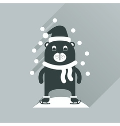 Flat icon with long shadow bear snow vector