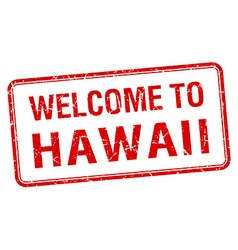 welcome to Hawaii red grunge square stamp vector image