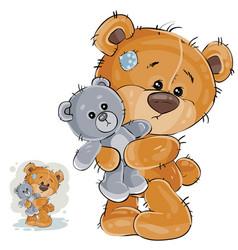 A brown teddy bear hugging vector