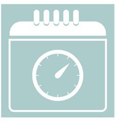 Calendar with a clock the white color icon vector