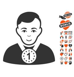 Champion icon with dating bonus vector