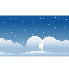 Christmas scenery deer of silhouettes vector