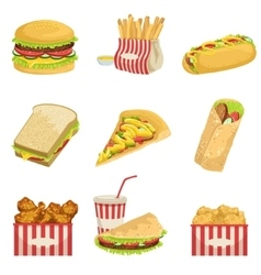 Fast food menu items realistic detailed vector