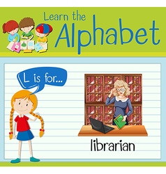 Flashcard letter l is for librarian vector