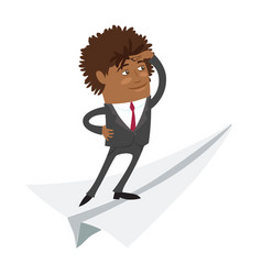 Funny black business man standing on flying paper vector