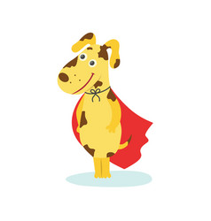 funny puppy dog character in red superhero cape vector image