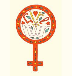 Girl power lettering vector