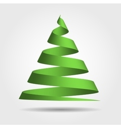 Green ribbon in a shape of christmas tree vector