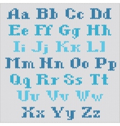 Knitted alphabet blue bold serif letters vector image