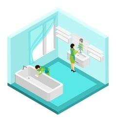 People cleaning bathroom vector