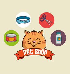 Pet shop set icons vector