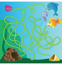 Puzzle for kids - marine life vector image vector image