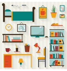 Room interior with furniture icon set vector image