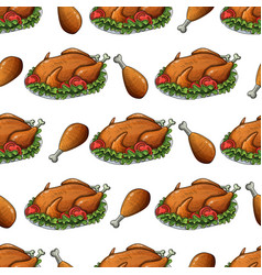 seamless pattern with thanksgiving turkey vector image vector image
