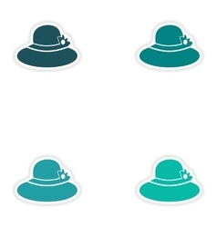 Set of paper stickers on white background lady hat vector